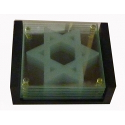 STAR OF DAVID GLASS COASTERS SET OF 6 IN WOODEN BASE